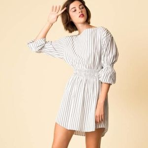 A.L.C. Sterling Cotton Stripe Dress Graphite White
